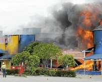 FIERY END: Fire at Greenfields in Mackay destroyed Toys R Us, AutoBarn and Clark Rubber in November, 2012.