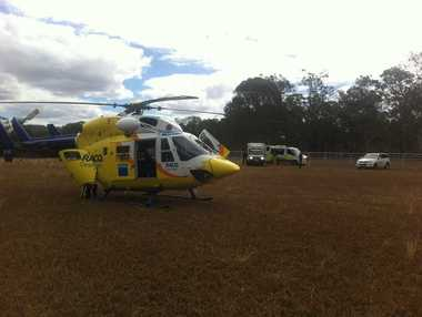 RACQ CareFlight Rescue airlifting a second person injured in the Aussie Bush Rally 2014 in the South Burnett region. Photo: RACQ CareFlight Rescue