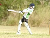 CRACKING SHOT: Joseph Huntmedley smashes a drive for his Lennox Head Black Pearls side during the latest Ballina District Junior Cricket Association action.