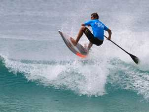 Jeff Breen, flying high in the finals of the Ocean Addicts SUP Men's Open.
