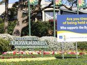 Toowoomba Regional Council have installed a new sign at the top of the Range, some members of the public are concerned it blocks the view of the Welcome to Toowoomba sign. Photo: Bev Lacey / The Chronicle