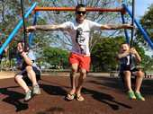 FAMILY FUN: Jakob, Jesse and Seth Moras enjoying the new ride at the Boreham Park playground in Avenell Heights. Photo: Mike Knott / NewsMail