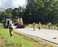 A fatal truck crash on the Pacific Highway south of the Ross Lane exit.
