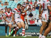 Gareth Widdop during the NRL round one match between the St George Illawarra Dragons and the Wests Tigers at ANZ Stadium in Sydney, Sunday, March 9, 2014.