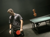 IN AN epic battle between a man and robot on ping-pong table, humanity emerged victorious.