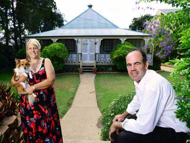 UNDER THE HAMMER: John Gallaway, of Ray White Ipswich, is helping Gayle Ferguson sell her family's home, one of Ipswich's oldest properties.