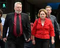 Bruce and Denise Morcombe arrive back at the Supreme Court in Brisbane.