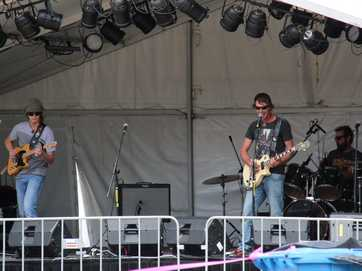 528 Hertz showed off their rock and roll talents at the Battle of the Bands competition at the 2014 Apple and Grape Harvest Festival in Stanthorpe on Saturday. Photo Erin Smith / Stanthorpe Border Post