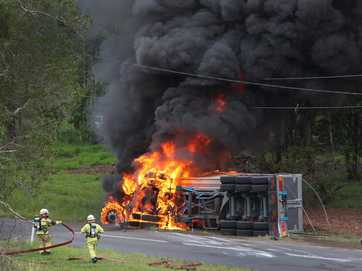 On Friday, March 14, a driver rolled his truck on Chevallum Road, about 1km from the Chevallum Primary School on the Palmwoods side. The truck caught on fire and power lines were knocked down.