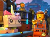 Characters Unikitty, Emmet, Vitruvius and Wyldstyle in a scene from The Lego Movie.