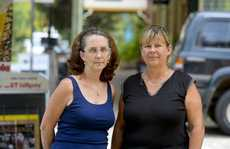 Lyn Missing and Lorraine Ratjens in the main street of Uki.