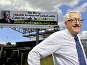 THE ELECTRICAL Trades Union's quest to place a giant 'Not for Sale' campaign sign above Ipswich MP Ian Berry's Booval office has been thwarted.