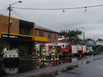 Images from the fire at the Commonwealth Bank at Jonson Street, Byron Bay.
