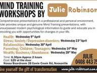 Julie Robinson will provide a unique and genuine mind training presentation which will guide, educate you and give you the opportunity for change.