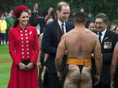 A BARE-bottomed Maori warrior left the Duchess of Cambridge grinning and proved an international hit in a welcoming ceremony for the royal couple in Wellington.