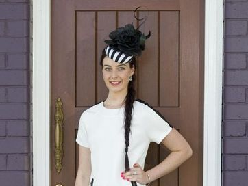 Danielle Hohn models racewear fashion for Weetwood race day from Painted Lady Boutique.