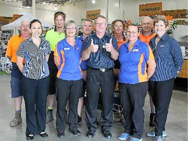 BUSINESS OPEN: It is business as usual for Woodman's Mitre 10 staff Basil Mansbridge, Kelly Bullen, Brad Quick, Lucille Cole, Michael Hurren, store manager Dennis Daly, Tommy Vujasinovic, Sue Peach, Jason Wick and Wendy Ogden who are looking forward to the completion of the store's redevelopment.