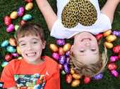 Joel Holland, 6 and Alice Macdonald, 7 are getting excited for Good Friday at Robelle Domain. Photo Inga Williams / The Satellite
