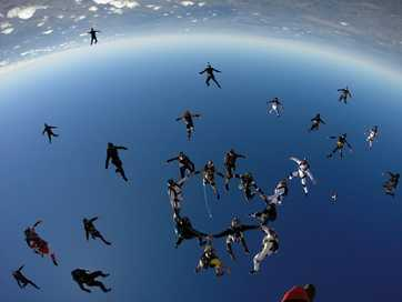 Skydivers attempt to break the national record for Australian vertical formation skydiving at Toogoolawah on Thursday.