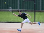 Michael Look contesting last year's Easter Gold Cup final against Kaden Hensel at James St tennis centre.