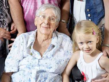 Five generations will celebrate the 100th birthday of Clara Kucks (front) ... daughter Marjorie, granddaughter Christine Morton, great- granddaughter Serena Shepherd and great-great- granddaughter Shayla Shepherd.