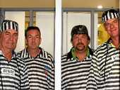 COMMUNITY SUPPORT: Dale Mackrill, Ben Malady, Damien Orth and Trevor Trumble did time to help raise funds for new youth development and crime prevention programs last weekend for Time4Kids.