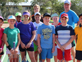 HOLIDAY FUN: Holly Ringelstein, Abby Lee, Kim Azul, Rachel Gottschalk, Sam Cornish, Finley Cochrane, Tim Gottschalk, Angus Cochrane, Dane Gottschalk, (back) Callam Ogilvie-Alcock and coach Dom Kohen enjoyed the week-long tennis camp held at the Proserpine Tennis Club.