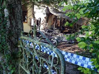 Fire destroyed this house in Federal Road, Eureka overnight. Photo Cathy Adams / The Northern Star
