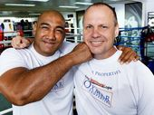 Alex Leapai with coach Noel Thornberry ahead of his world heavyweight title bout.