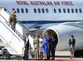 The Duke and Duchess of Cambridge, Prince William and Catherine, are met by Chief of Defence Force General David Hurley and Mrs Linda Hurley on arrival at Amberley RAAF Base, Brisbane, Saturday, April 19, 2014. Prince William and Catherine are visiting Australia for the first time as the Royal couple, accompanied by their baby son Prince George.