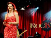 Rockwiz queen Julia Zemiro chats with the audience asking music questions, at Bluesfest on Saturday.