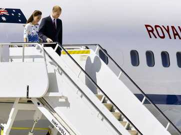 The Duke and Duchess of Cambridge arrive at RAAF Base Amberley on Saturday, April 19 as part of their three week tour of New Zealand and Australia.