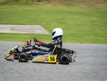 Karts his the tarmac for the Two Track Challenge at Gladstone Kart Club on Sunday.