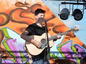 Jack Gray performing at the Battle of the Bands Easter Laneway Festival Photo Tony Martin / Daily Mercury