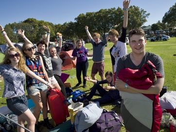 After perfect weather camping festival-goers pack up their Queens Park sites and head for home.