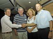 Malcolm Chilman (treasurer Coolum Business & Tourism), Bob Joubert (Mentor - Business Mentoring Noosa), first Coolum-based mentee Shirley Leacy, Manager Element On Coolum Resort and Mark Waite (Mentor - BMN).