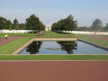 The reflections pool at the American War Cemetery, Colleville-Sur-Mer.