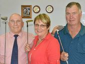 TEEING OFF: Sponsor Gary Russell-Sharam, of Mind Your Business, with Warwick Golf Club members Judy and Bob Lester in the run up to President's Day on Sunday.