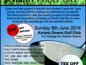 The Karalee Community Association Inc. is running a Golf Charity Day on Sunday 8th June to support a local family with a 3yr old diagnosed with Leukaemia.