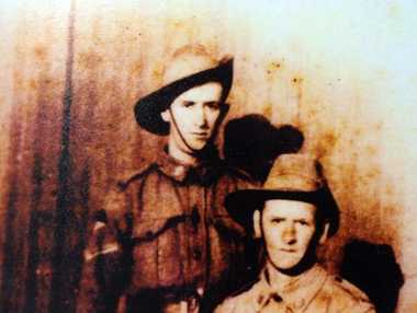 """Henry Harris on right with brother (Tom) William Thomas Harris on left. Both were Lance Corporals in 1917."""