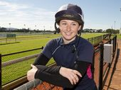 Toowoomba apprentice jockey Lani Fancourt at Clifford Park today before travelling to compete in South Australia on Friday.
