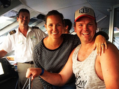 TV CELEBRITIES: Brad and Lara Cranfield from the hit television series The Block (2012) posted this photograph of themselves on their Facebook on Sunday. They are pictured here with Mark Edwards from Cruise Whitsundays deuring their recent trip to the Whitsundays.