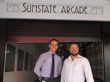 Fraser Coast councillor Daniel Sanderson and Ray White's Guy Meredith at Sunstate Arcade in Maryborough.