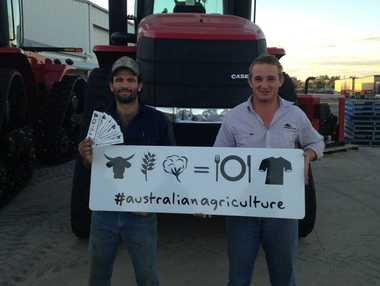 Sam Collier (right) is the man behind the #australianagriculture social media trend. His mate, Sean Headland (left) has helped distribute the popular stickers.