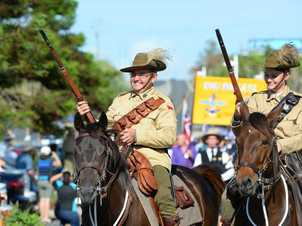 Wayne Brown and Michelle Newton from the 5th Mount Morgan Light Horse at the Emu Park Anzac Day parade. Photo: Chris Ison / The Morning Bulletin