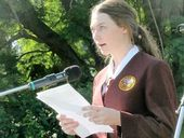 McAuley Catholic College student Lisa O'Donohue speaking at today's Grafton Anzac Day service.