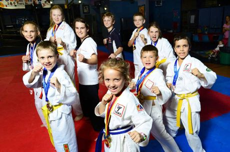 TOP TEAM: Successful Ipswich PCYC Taekwondo students (clockwise from front) Abigail Manders, Ryder Rundell, Tamzin Christoffel, Ashley Holden, Jessica Malone, Marshall Roberts, Ryan Holden, Linsey Christoffel, Samuel Smit and William Holden.