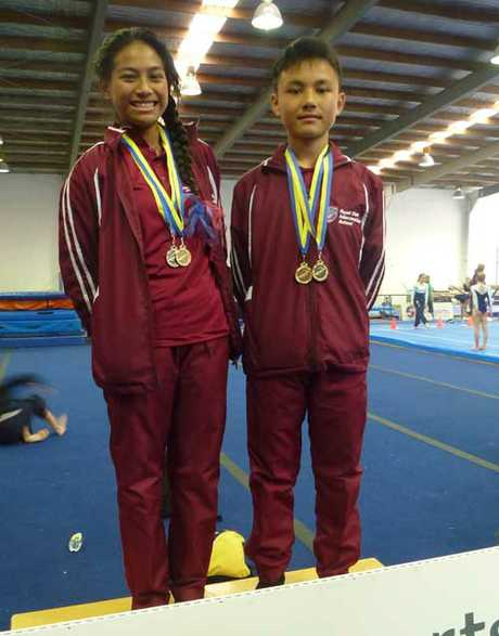 Sophia Laufoli and Win Ba won gold medals in the gymnastics.