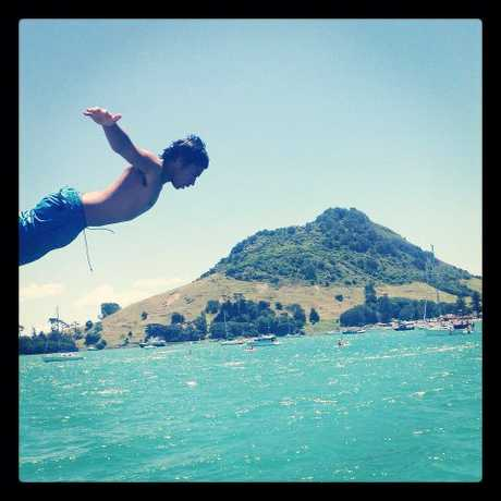 This is a photo of my good friend  Manaaki chase, jumping the whalf at pilot bay, looks like a lovely day to, you know, fly on mount Maunganui  - User Contributed