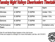 Valleys Roosters Cheerleading